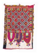 An Indian, Jat people, embroidered mirror work dowry bag, with polychrome arch decoration, double