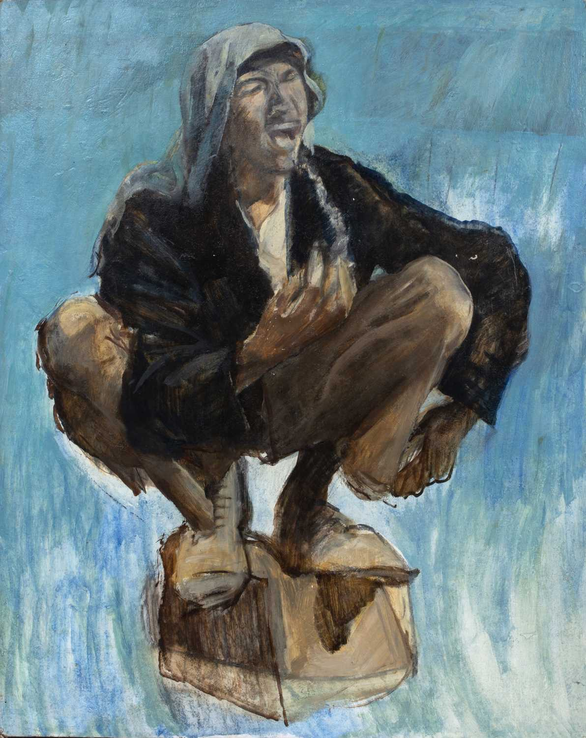 Bernard Kay (1927-2021) Crouching Figure oil on board 82 x 64cm; together with a Pop Art style oil