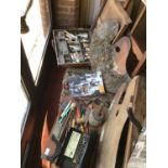 A large collection of artist's accessories, to include a paint box with palette, a box of brushes,