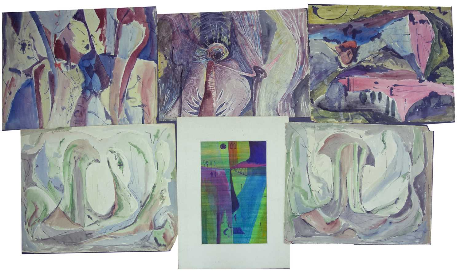 Bernard Kay (1927-2021) A group of twelve abstracts, 1950s mostly signed and dated watercolours