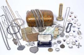 A collection of silver and costume jewellery, two gold rings, coins and mixed ephemera in a