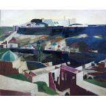 Bernard Kay (1927-2021) Continental walled town oil on canvas 99 x 122cm.