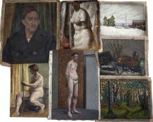 Bernard Kay (1927-2021) Ten early oil paintings, circa 1940 mainly nude studies and portraits (10).