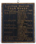 An antique School honours board for Laxton House, showing the 1896 sports achievements 51 x 43cm.