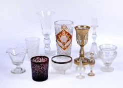 A collection of eleven pieces of old glass including a Bohemian coloured glass goblet, 20cm high,