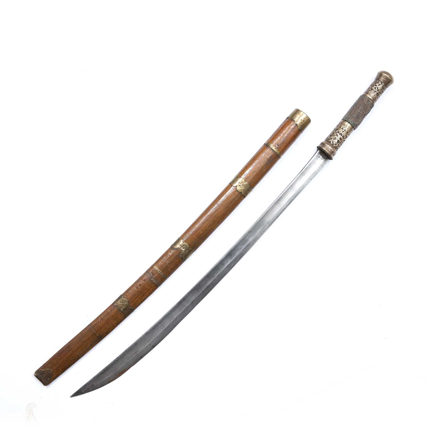 A South East Asian, probably Burmese, sword with steel blade and brass and shagreen handle in wooden - Image 2 of 2