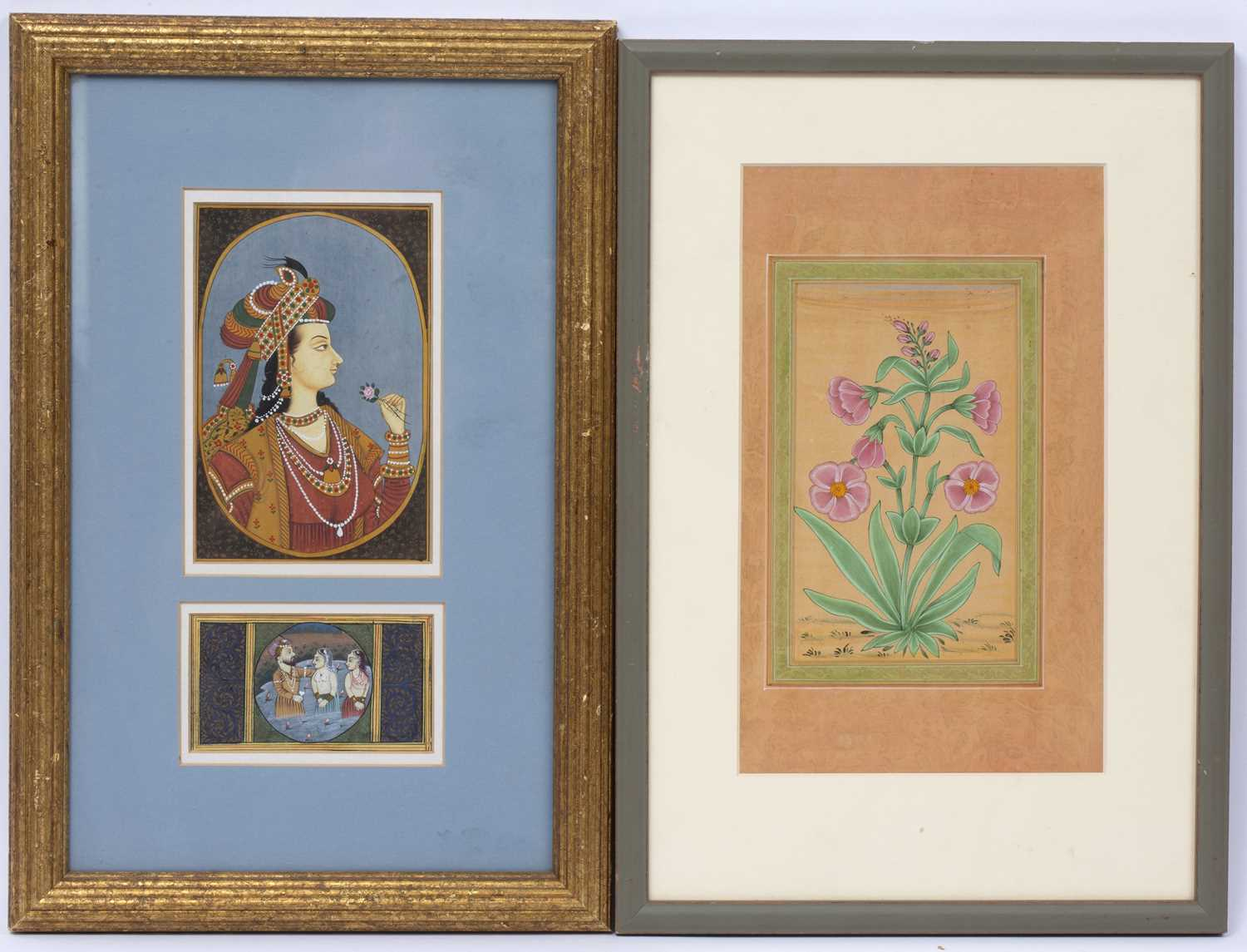 An Indian contemporary miniature portrait painting, 14.5 x 10cm, framed with a baptismal scene, 5 - Image 2 of 3