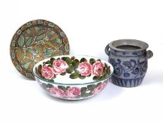 Wemyss A large bowl decorated with pink roses, painted and printed retailer mark 39cm diameter;