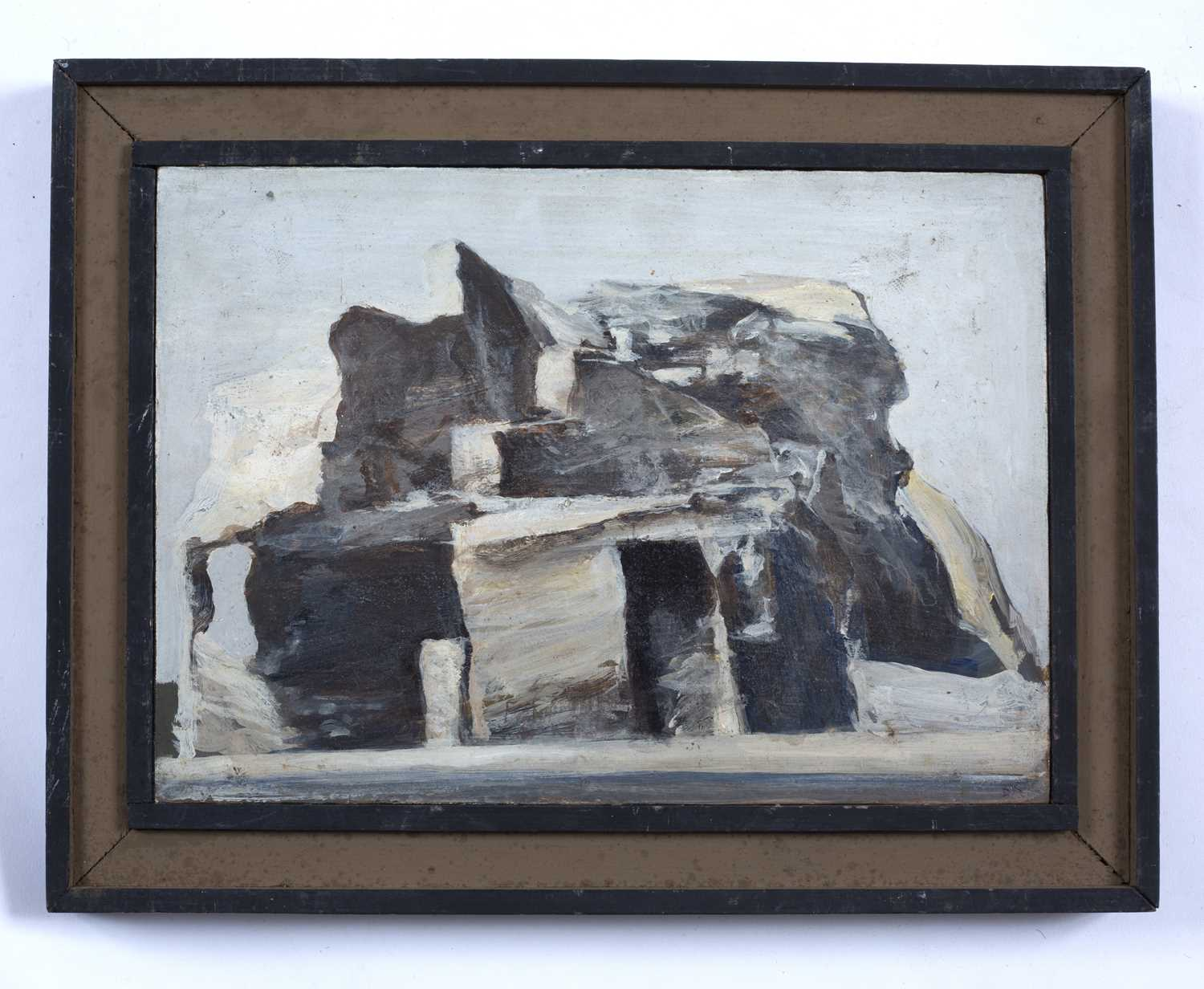 Bernard Kay (1927-2021) Rock Dwelling signed and titled (to reverse) oil on board 17.5 x 25cm. - Image 2 of 3