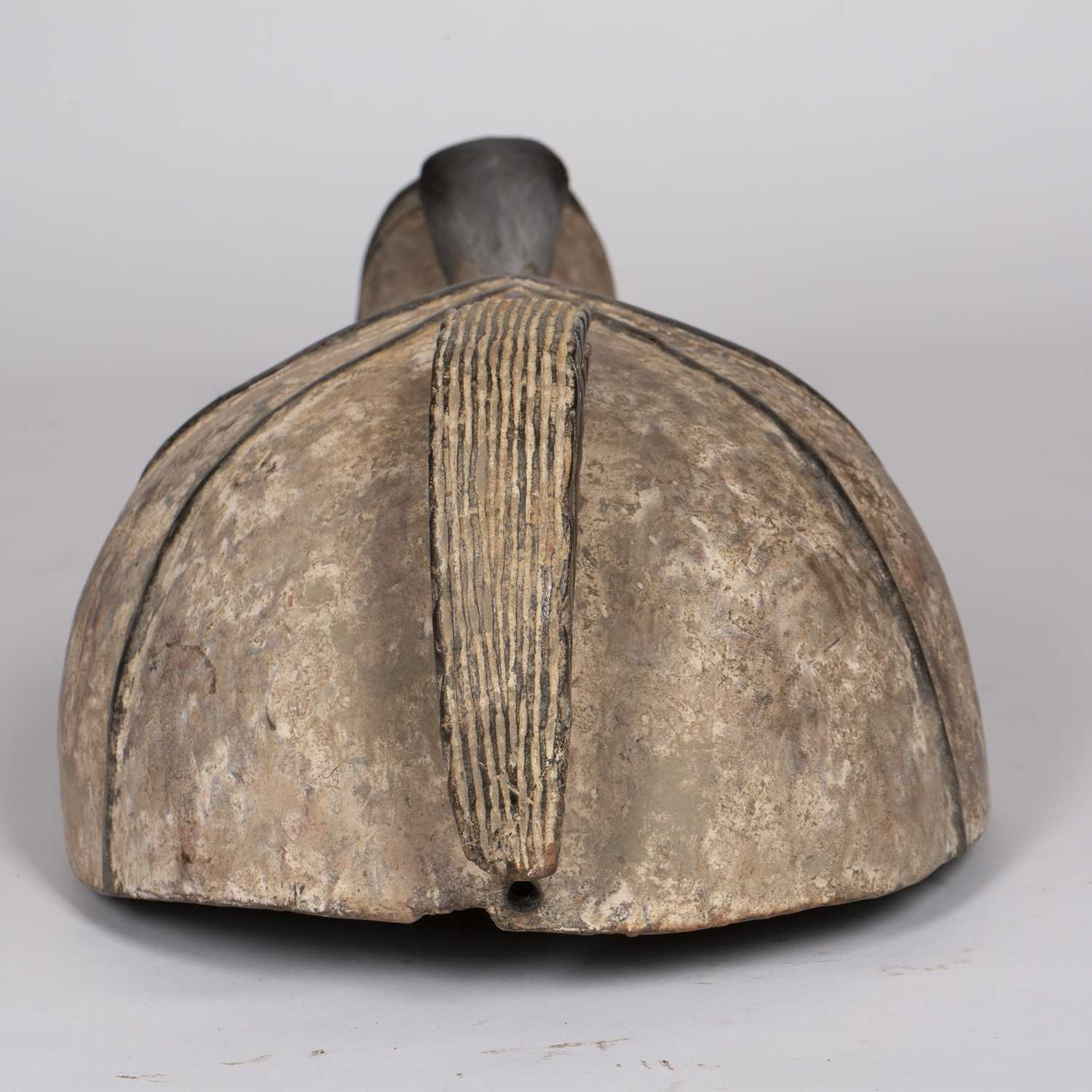 A Fang mask, Gabon, carved wood with incised line marks with black and white pigments, 74cm high - Image 3 of 5
