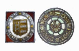 An early circular leaded stained glass window with a central armorial and roundels depicting Scipio,