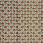 A silk brocade fragment with apple green and red flower repeating motif, 146 x 120cm