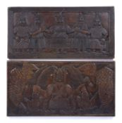 A Benin carved rectangular table top depicting an OBA holding two crocodiles, 61 x 30cm; and a