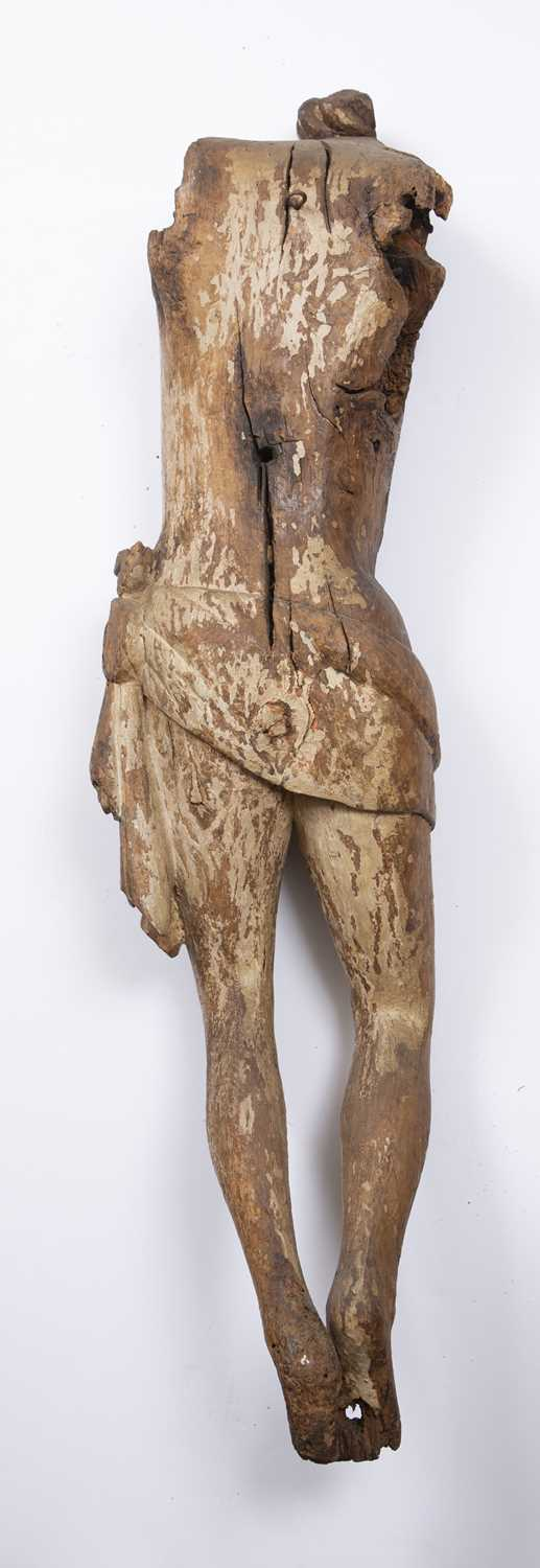 A carved wood Corpus Christi, perhaps Medieval French, of rustic torso form with loin cloth, 110cm - Image 3 of 3