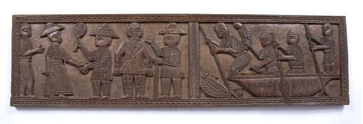 A Benin carved wooden large panel depicting Europeans playing tennis and four men in a canoe, 97 x