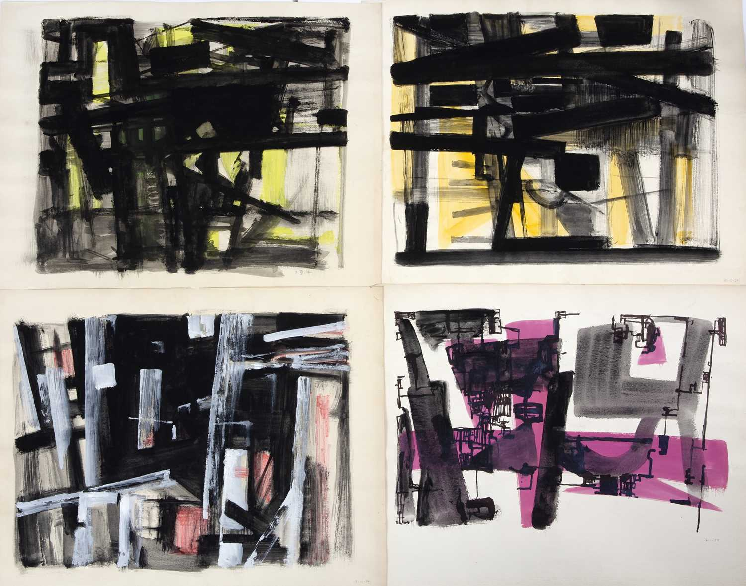 Bernard Kay (1927-2021) A series of four abstracts, 1954-1955 each dated in pencil (lower right)