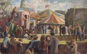 Bernard Kay (1927-2021) The Fair inscribed 'Bernard Kay, Liverpool School of Art, 1944' (to reverse)