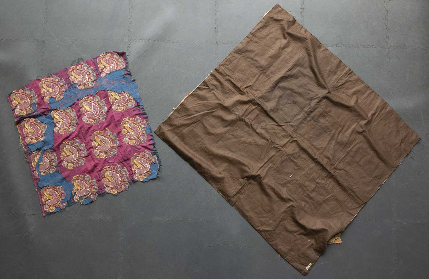 Two old Ottoman turban cloths with boteh and rosette decoration, 113 x 107cm and 70 x 73cm (2)
