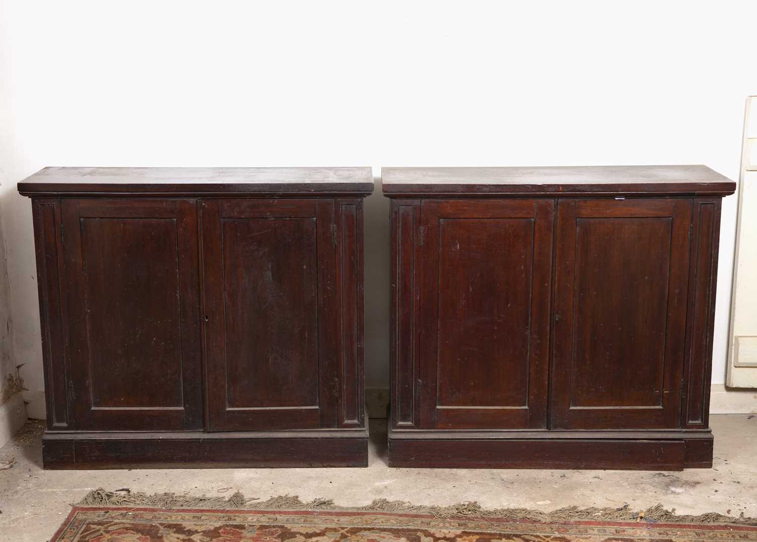 A pair of 19th century mahogany cupboards, each with a pair of panelled doors enclosing shelving, on