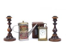 A French carriage timepiece with white enamel dial in outer leather case, 10.5cm high, a pair of