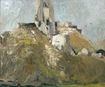 Bernard Kay (1927-2021) Corfe Castle, 1953 signed and dated (to reverse) oil on board 76 x 92cm.
