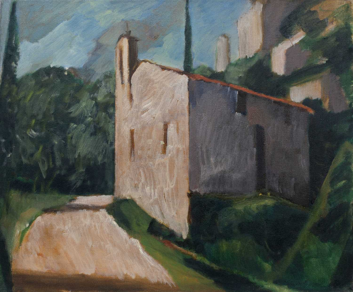 Bernard Kay (1927-2021) Five landscape and village studies all unsigned oil on canvas largest 71 x - Image 6 of 13