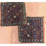 A pair of Persian, Varamin, bag faces decorated with a repeating blue star and geometric motif on