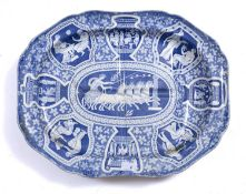 A 19th century English glazed pottery turkey dish decorated with Grecian classical figures, 53 x