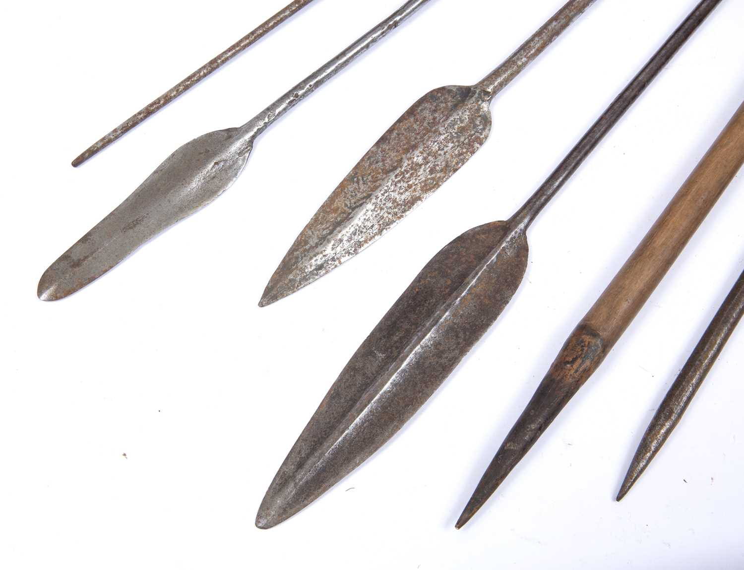 A set of three Masai spears, with iron blades together with a woven basket work Turkana container ( - Image 2 of 2