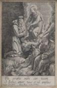 Isaac, Jaspar, A French miniature monochrome engraving 'Fili Proebe Mihi Cor Tuum Ô Jesus, Amor Tuus
