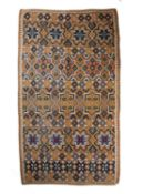 A Swedish Tacké or bed cover, probably mid 19th century, with a repeating star motif on a blue and