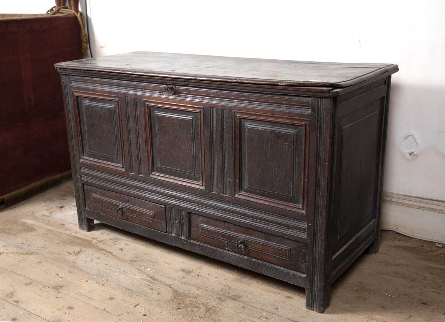 A late 17th Century oak coffer, with triple panelled front above two drawers, on block feet, 124cm - Image 3 of 5