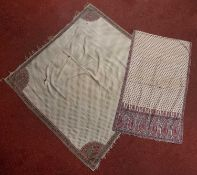 Two old Eastern shawls or stoles with simple polychrome repeating motifs, 139 x 144cm and 262 x