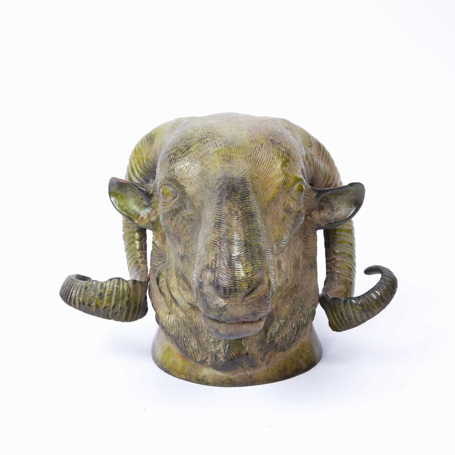 A 19th century bronze ram's head wall mount with green patina, 15cm high - Image 3 of 3