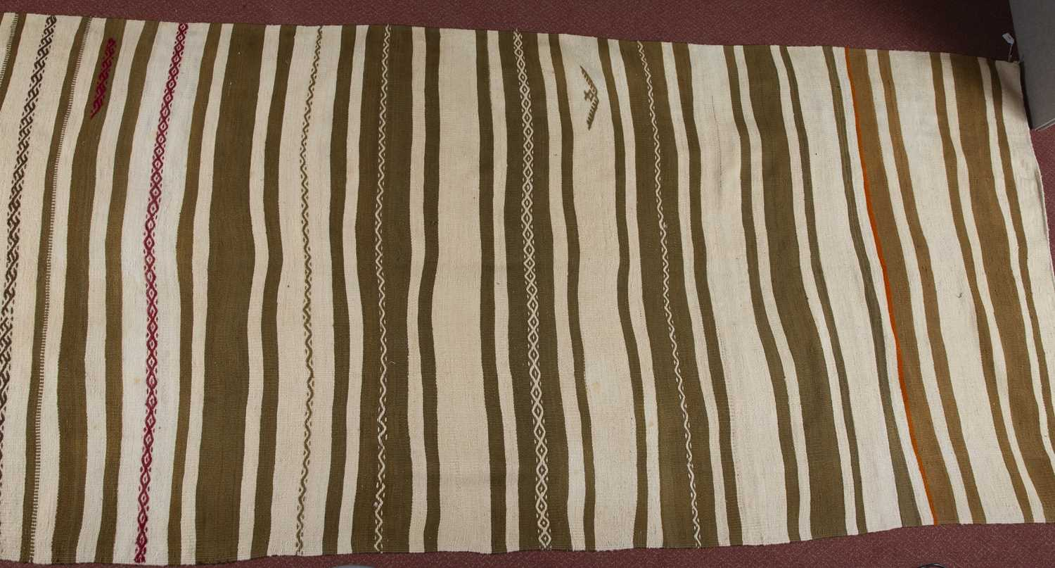 A Turkish plain weave rug with sage and white bands, 418 x 152cm - Image 3 of 4