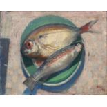 Bernard Kay (1927-2021) Two fish on a plate, 1948 signed and dated (lower right) oil on canvas 37
