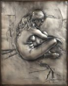 Pietro Annigoni (1910-1988) 'Model in repose' silver plaque worked in relief, numbered 243/499,