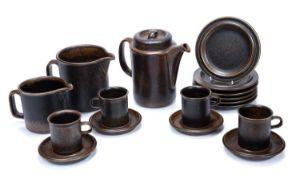 Ulla Procope (1921-1968) for Arabia Ruska of Finland coffee set, consisting of a coffee pot, large