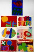 Albert Irvin (1922-2015) Seven screenprint greetings cards, of various designs, each one signed