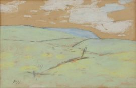 D W (Contemporary) 'Untitled landscape' gouache and pencil sketch, initialled lower left, 16cm x