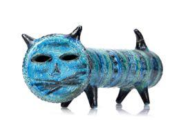 Aldo Londi (1911-2003) for Bitossi Ceramiche Rimini pottery cat with blue glaze, unmarked, 38cm long