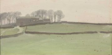 John Osborne (b.1939) 'A Dales farm - Melting snow' oil on board, signed to the reverse of the