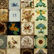 Collection of tiles Victorian and later, including examples from Minton and Wedgwood, some with tube