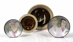 Chelsea Pottery two studio pottery bowls, decorated with portraits of Doctors, both initialled '