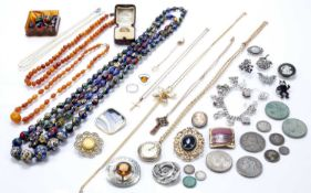 Collection of costume jewellery to include: 9ct gold ring, Scottish gold plated crucifix pendant,
