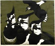 Robert Gillmor (b.1936) 'Lapwings' linocut, numbered 2/25, signed in pencil lower right, numbered 16