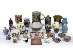 Collection of studio pottery to include: Mary Rich pottery vase, seal mark to base, 9cm high, Yuta