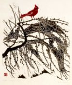 Tessa Beaver (1932-2018) 'Cardinal' woodblock print, numbered 6/50, signed in pencil lower right,