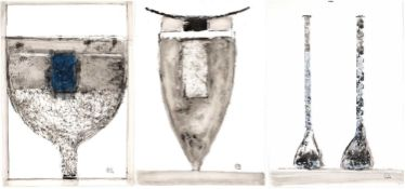 Robin Welch (1936-2019) three 'Untitled ceramics' mixed media, each signed with initials stamp,