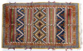Tribal style rug (20th Century) striped decoration with central panel, 272cm x 151cmCondition